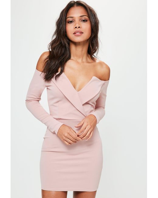 b8e75afaa8 Lyst - Missguided Pink Bardot Foldover Wrap Dress in Pink - Save 51%