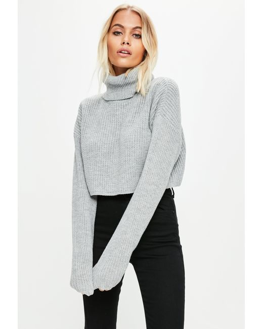efc779c48 Missguided Grey Roll Neck Knitted Crop Jumper in Gray - Lyst