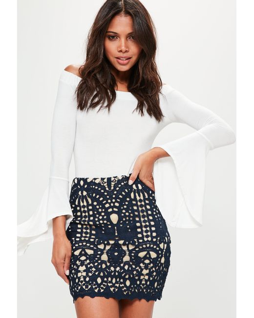 Missguided | Blue Navy Crochet Lace Lined Mini Skirt | Lyst