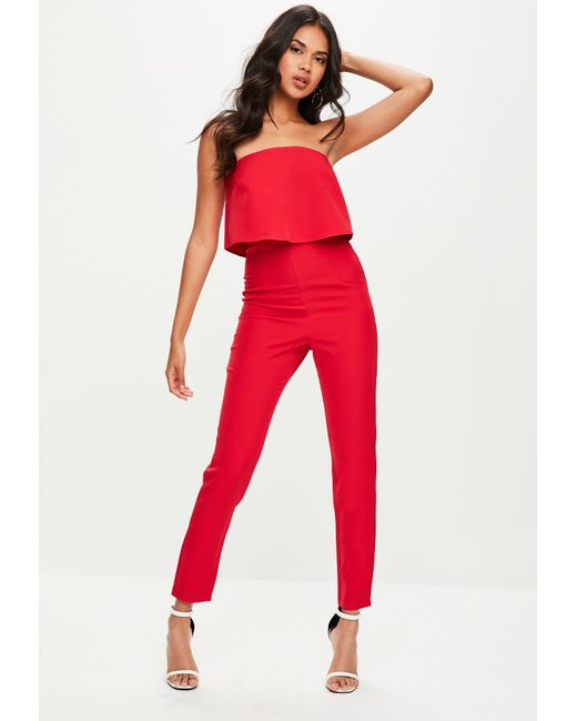 e81819aff2b Lyst - Missguided Red Bandeau Double Layer Jumpsuit in Red - Save 76%