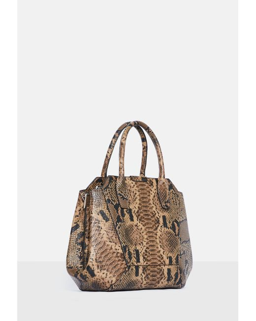 ... Missguided - Brown Snake Print Bag - Lyst ... 85ef432353ce0