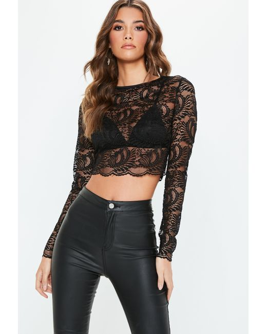 73ef7f1e991dab Lyst - Missguided Black Lace Long Sleeve Crew Neck Crop Top in Black