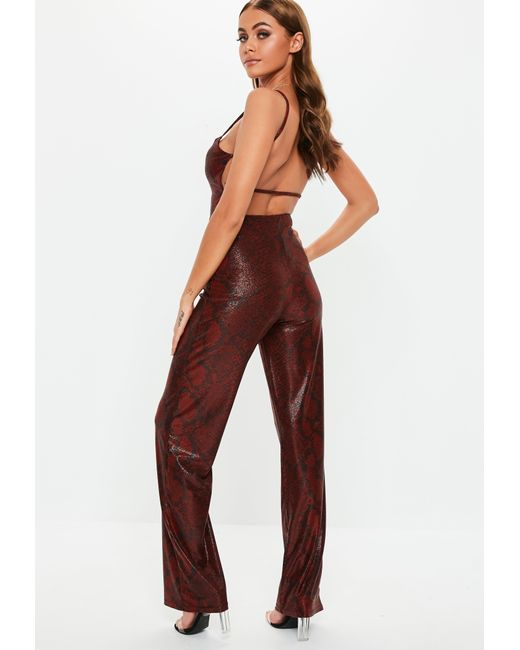 aa2df43cbab Lyst - Missguided Red Shimmer Snake Print Jumpsuit in Red