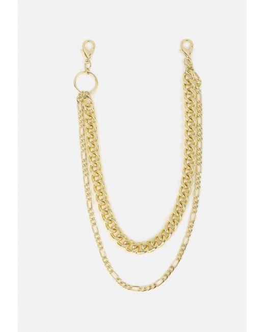 Missguided - Metallic Gold Look Chunky Multirow Wallet Chain - Lyst