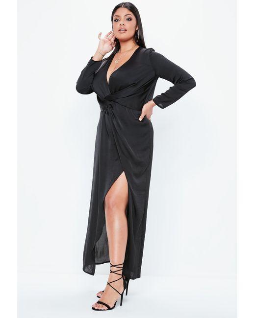 d9f23fd2b959 ... Missguided - Plus Size Black Satin Thigh Split Wrap Maxi Dress - Lyst  ...
