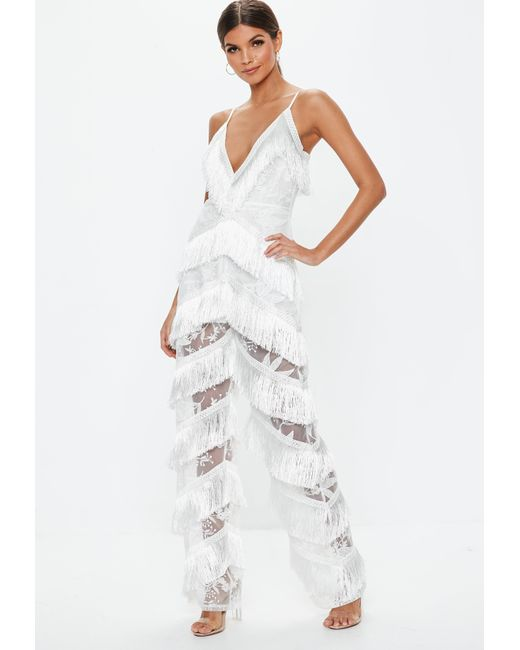 1e46280e6 Lyst - Missguided White Plunge Fringe Lace Jumpsuit in White