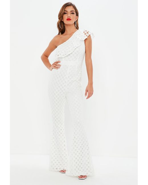 8bc60317bcf Lyst - Missguided White One Shoulder Open Lace Jumpsuit in White