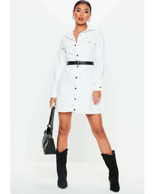 c800ba17b4 ... Missguided - White Cord Skater Shirt Dress - Lyst ...