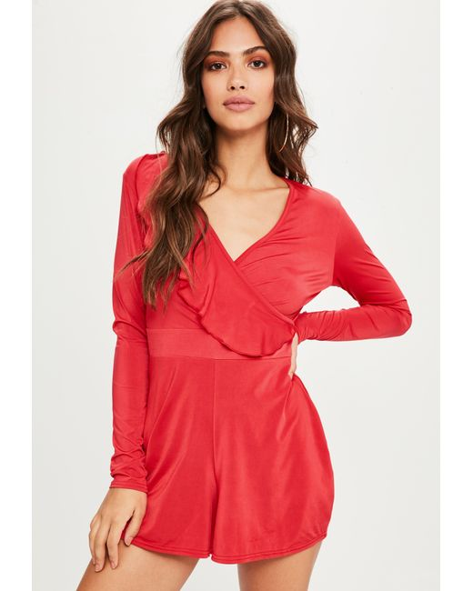 Missguided - Red Frill Slinky Playsuit - Lyst