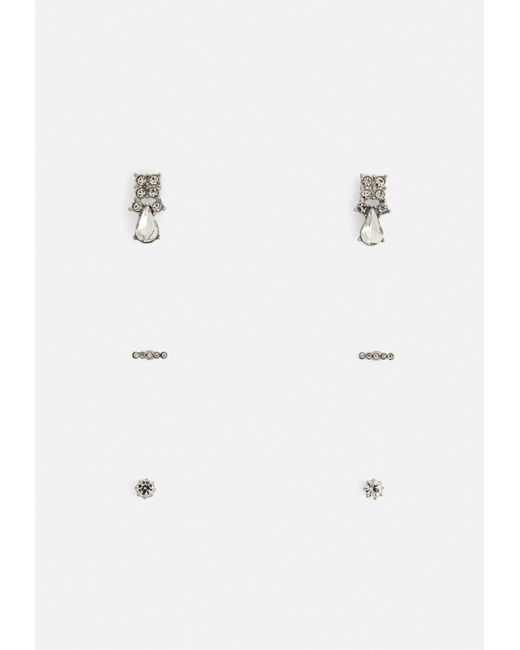 Missguided - Metallic Silver 3 Pack Diamante Earrings - Lyst