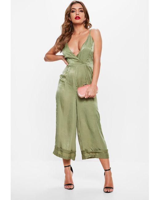 ea6a6c491ac ... Missguided - Green Khaki Cami Deep Cuff Culotte Jumpsuit - Lyst ...