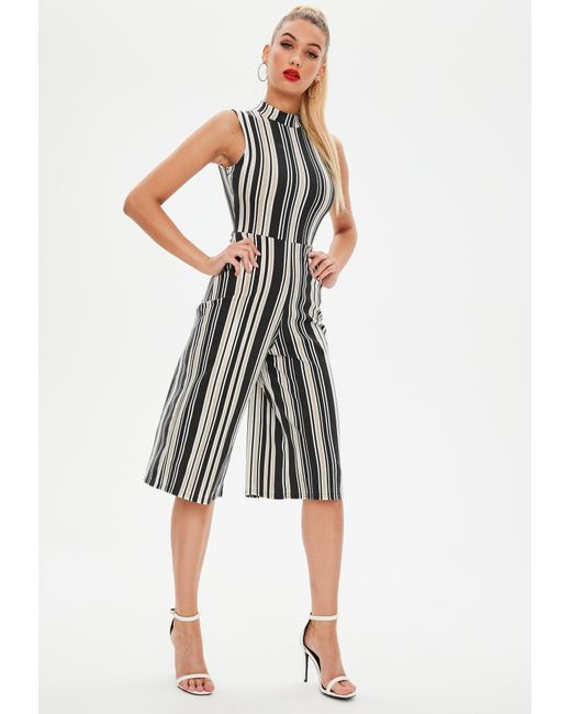 Missguided - Black Stripe High Neck Jumpsuit - Lyst