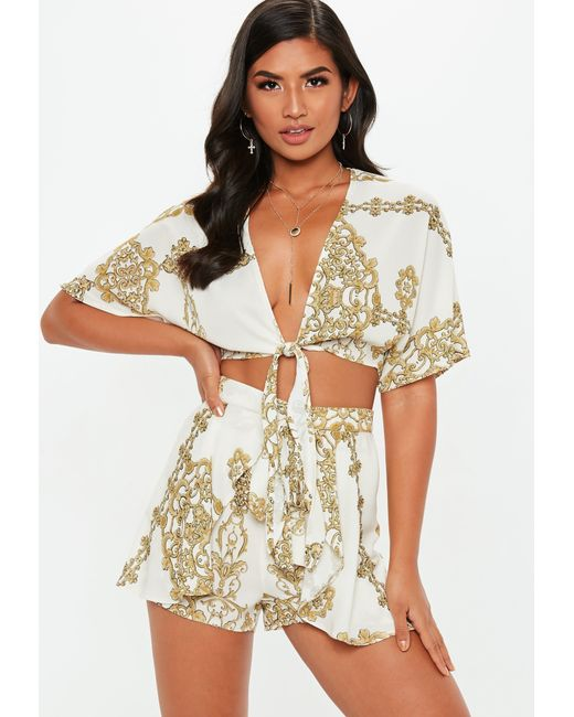 Missguided - Natural Cream Chain Print Tie Waist Floaty Shorts - Lyst