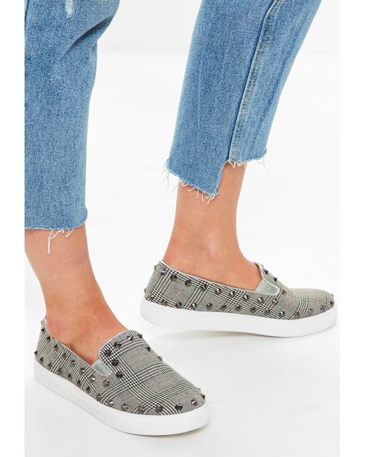 Missguided - Gray Grey Studded Check Slip On Trainers - Lyst