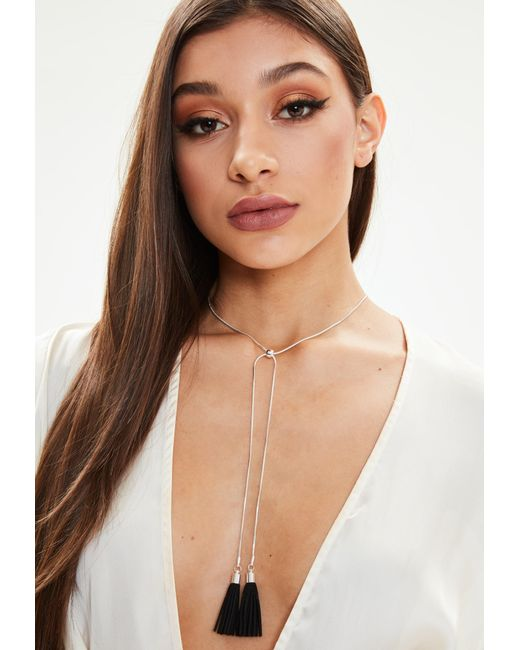 Missguided - Metallic Silver Tassel Necklace - Lyst