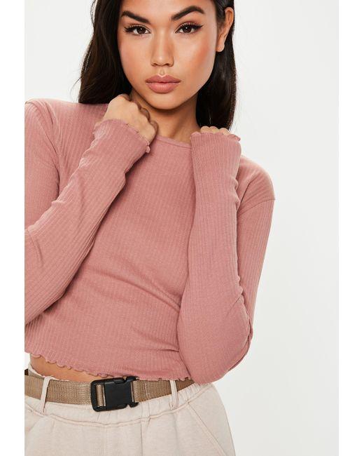 30d3c1c344a227 Missguided - Pink Rose Rib Lettuce Hem Long Sleeve Crop Top - Lyst ...
