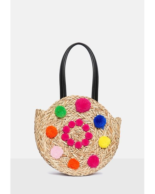 Missguided - Pink Circular Detail Pom Pom Bag - Lyst