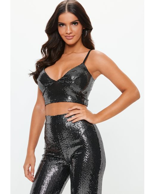 effcfc0039 Lyst - Missguided Black Sewn Through Disc Bralette in Black