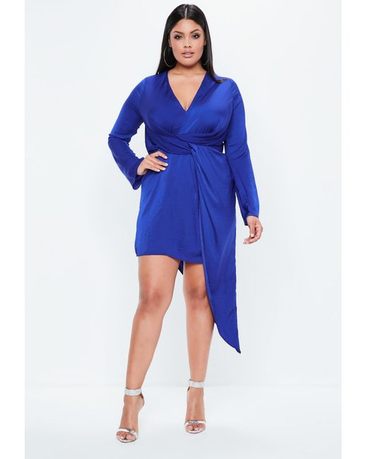 Missguided - Plus Size Blue Hammered Satin Asymmetric Dress - Lyst