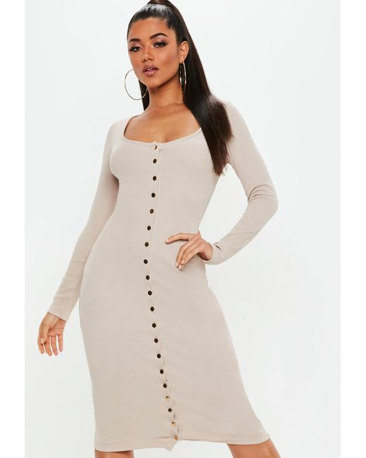 8a71aabf3a Missguided - Natural Sand Long Sleeve Ribbed Popper Midi Dress - Lyst ...