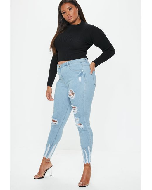 1c7ad84a82c29 Missguided - Plus Size Blue Sinner Highwaisted Chew Hem Skinny Jeans - Lyst  ...