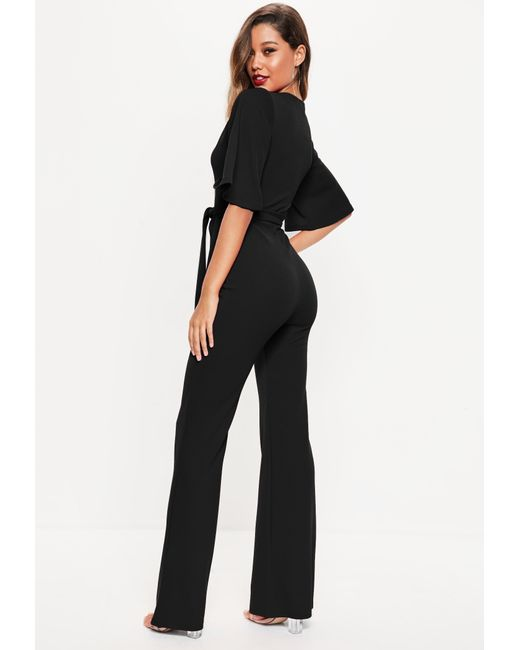 a3e221b4ecda ... Missguided - Tall Black Plunge Front Kimono Sleeve Jumpsuit - Lyst ...
