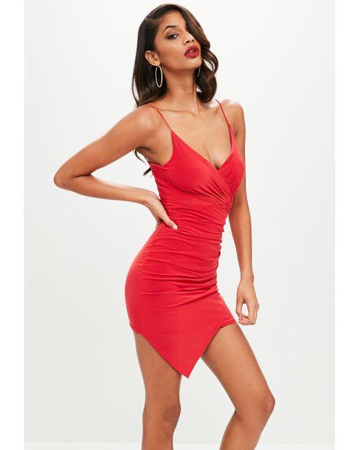 Missguided - Red Strappy Slinky Wrap Bodycon Dress - Lyst