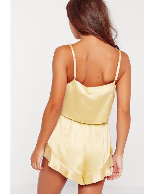 56dba9f45d Lyst - Missguided Yellow Satin Cami Frill Short Pyjama Set in Yellow