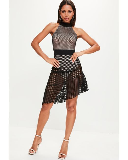 Missguided - Black Fishnet Mesh Halterneck Skater Dress - Lyst