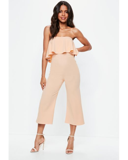 Missguided - Natural Nude Double Layer Culotte Jumpsuit - Lyst