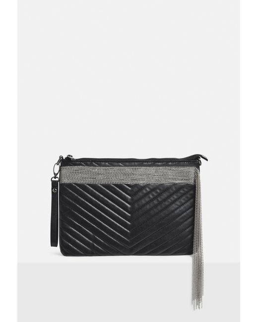 Missguided Black Faux Leather Quilted Chain Fringe Clutch Bag Lyst
