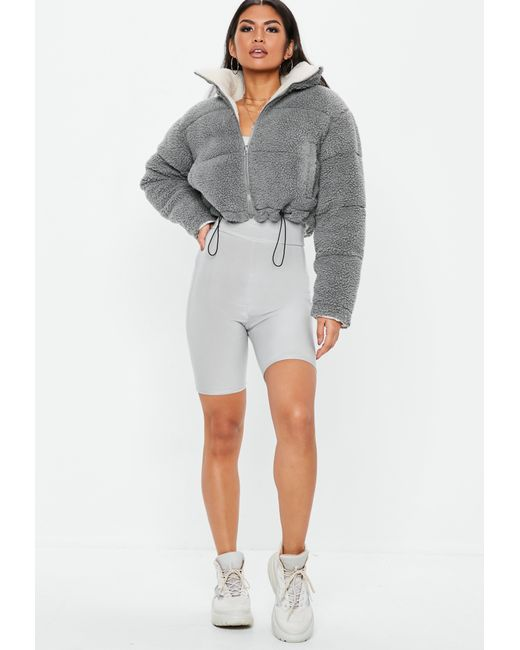 277acbac1 Lyst - Missguided Gray Reversible Borg Cropped Puffer Jacket in Gray ...