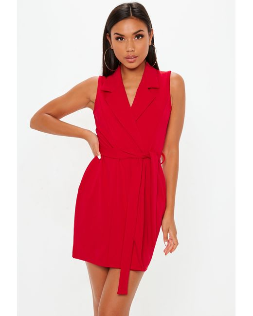 20b020a49dc Missguided Red Sleeveless Stretch Crepe Blazer Dress in Red - Lyst