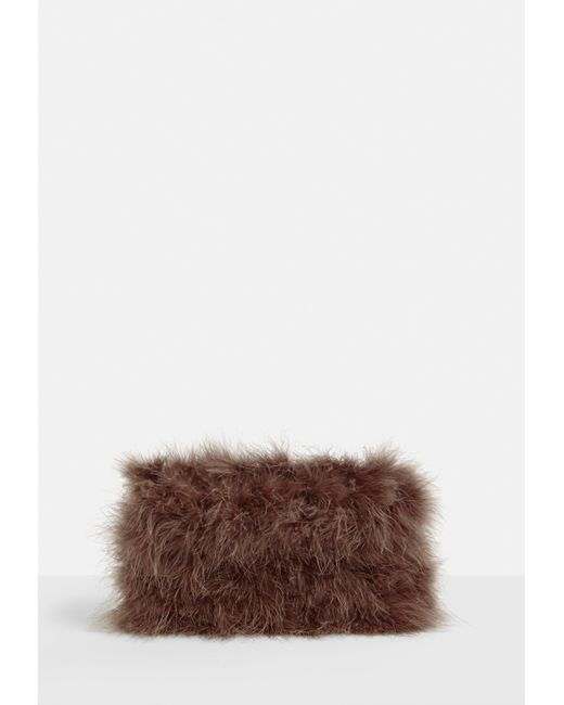 Missguided - Brown Fluffy Feather Clutch Bag - Lyst