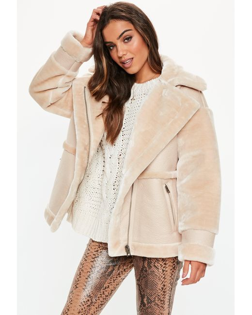 d315108cfee2 Missguided - Natural Sand Faux Fur Aviator Coat - Lyst ...