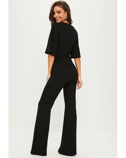 9655f551a4bc Lyst - Missguided Black Plunge Kimono Sleeve Jumpsuit in Black