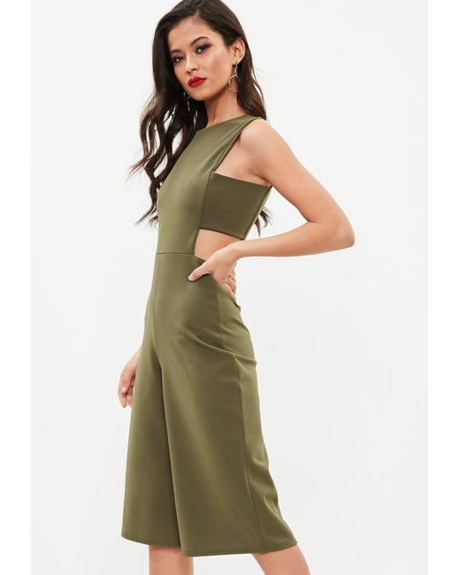 b78c646a697 ... Missguided - Green Khaki Side Tab Culotte Jumpsuit - Lyst ...