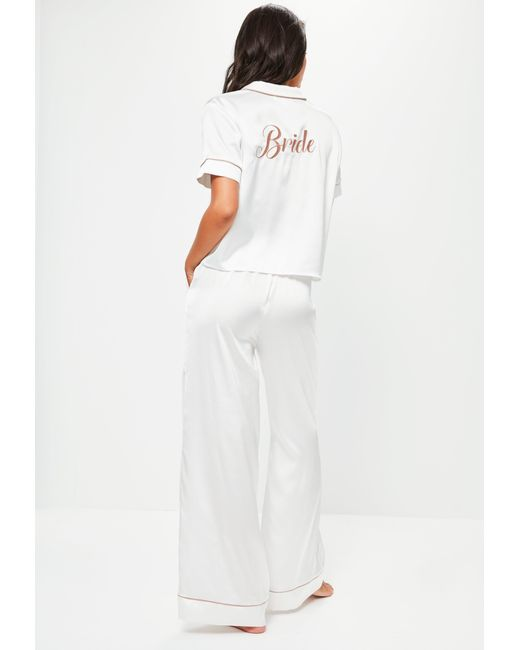 Missguided - White Satin Bride Piped Pyjama Set - Lyst