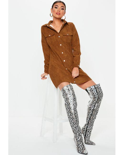 e2da42fbb6 ... Missguided - Brown Rust Cord Skater Shirt Dress - Lyst ...