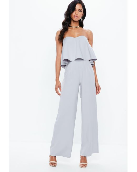7526469bafe Missguided Gray Crepe Frill Wide Leg Jumpsuit in Gray - Lyst