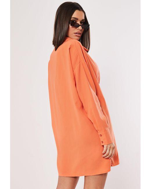 de42c870ac Lyst - Missguided Neon Orange Oversized Shirt Dress in Orange