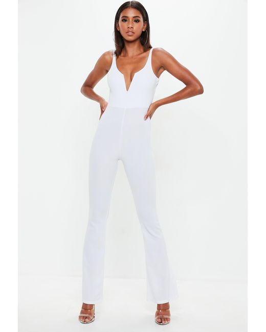 83a8bb8a13a Lyst - Missguided White V Bar Flared Jumpsuit in White