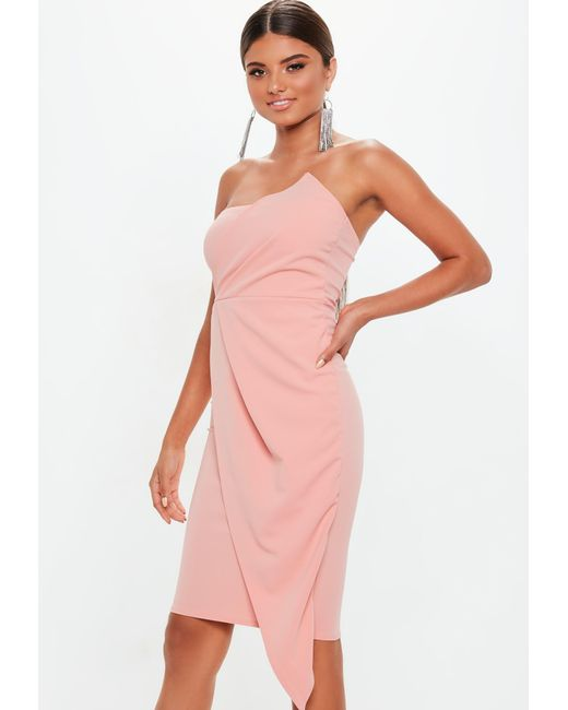 dce3d34aad ... Missguided - Pink Blush Bandeau Origami Midi Dress - Lyst ...