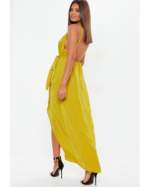 c56ae25e69 ... Missguided - Yellow Chartreuse Plunge Satin Tie Maxi Dress - Lyst ...