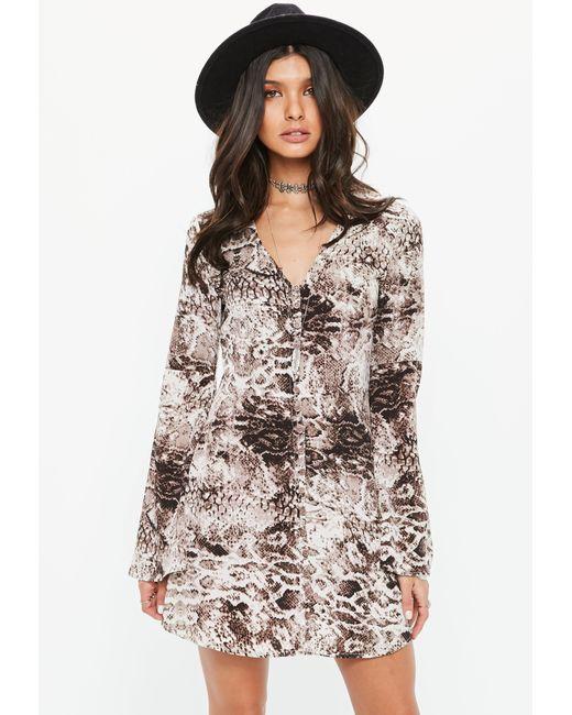 Missguided - Brown Snake Print Skater Dress - Lyst