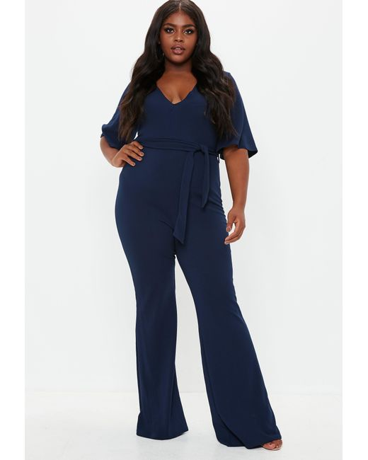 acb8bf9b44d Missguided Plus Size Blue Plunge Kimono Sleeve Jumpsuit in Blue - Lyst