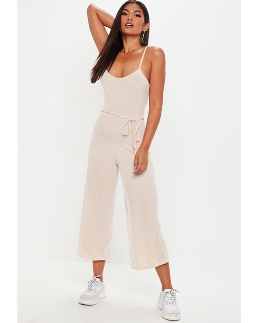 92b1383e843a Lyst - Missguided Nude Ribbed Culotte Jumpsuit in Natural - Save 14%