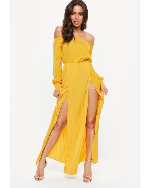 Lyst - Missguided Mustard Yellow Satin Bardot Split Front Maxi Dress ...