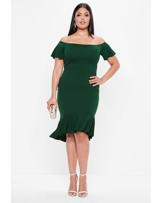 53e0343b6369 Missguided - Plus Size Green Bardot Dip Kick Hem Bodycon Dress - Lyst ...