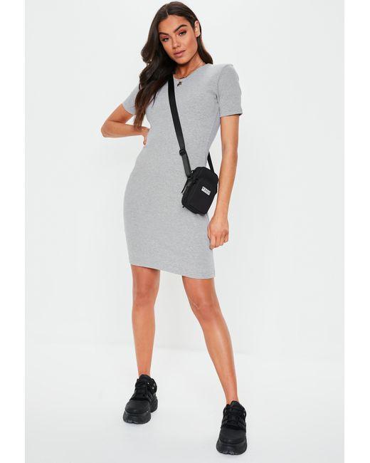 c309ca7c88f5 Missguided - Gray Tall Grey Ribbed Short Sleeve Mini Dress - Lyst ...